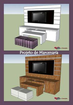 painel de tv com mesa embutida, pequenos ambientes.