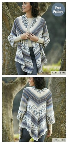 Triangular Cardigan Free Knitting Pattern - - Multicolor design makes this a great look for the season. The Triangular Cardigan Free Knitting Pattern is a lot easier to make than it looks. Ladies Cardigan Knitting Patterns, Free Knitting Patterns For Women, Designer Knitting Patterns, Knit Cardigan Pattern, Knitting Designs, Crochet Pattern, Free Pattern, Pattern Design, Knit Poncho