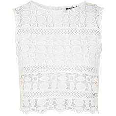 TopShop Lace Panel Shell Top (1.195 UYU) ❤ liked on Polyvore featuring tops, crop tops, shirts, tank tops, topshop, cream, cream crop top, cropped shirts, shell tops and polyester shirt