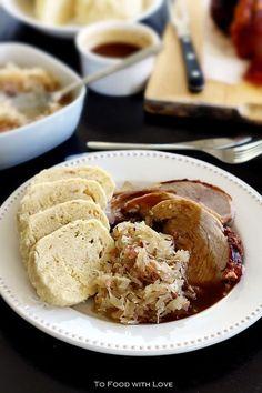 To Food with Love: Vepro-Knedlo-Zelo (Czech Roast Pork with Dumplings and Sauerkraut) --- A Yummy Bohemian meal! To Food with Love: Vepro-Knedlo-Zelo (Czech Roast Pork with Dumplings and Sauerkraut) --- A Yummy Bohemian meal! European Dishes, Eastern European Recipes, European Cuisine, Slovak Recipes, Czech Recipes, Hungarian Recipes, Sauerkraut, Czech Goulash, Kolache Recipe