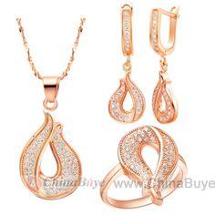 Fashion Jewelry: Woman Ornament Rhinestone Pendant + Earrings + Fin...
