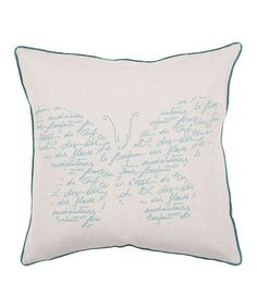 Look what I found on #zulily! Ivory & Sea Blue Butterfly Script Throw Pillow #zulilyfinds