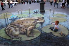 Street Painting has been recorded throughout Europe since the century. Street Painting is also known as Pavement Art, Chalk Art, Sidewalk Art. Take a look at the best Street Paintings ever! 3d Street Art, Amazing Street Art, Street Art Graffiti, Street Artists, Graffiti Artists, Chalk Artist, 3d Chalk Art, Illusion Kunst, Illusion Art
