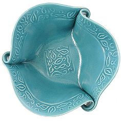 Hilborn Pottery Turquoise Twist Large Salad Bowl