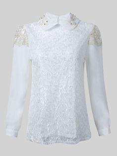 Elegant Lace Crochet Beaded Long Sleeve Women Chiffon Blouse - Gchoic.com