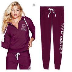 Medium PINK Half Zip Hoodie+Small Collegiate Pants Slim fit, NWT PINK Victoria's Secret Sweaters
