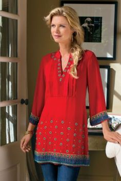 Label Noir Casablanca Tunic - Red Tunic Top, Heavy Tunic,Save Up to on Sale items at Soft Surroundings. Mode Hippie, Bohemian Mode, Indian Fashion, Boho Fashion, Fashion Outfits, Womens Fashion, Red Tunic, Tunic Tops, Casual Chique