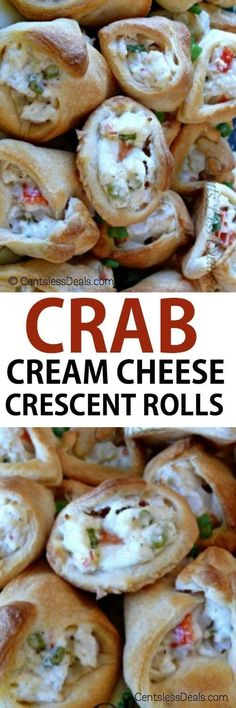 crab and cream cheese crescents combine a creamy crab filling with a rich and flaky dough for the sole purpose of making you smile with pure satisfaction! They make the perfect appetizer and are easy enough for a special after-school snack. Finger Food Appetizers, Yummy Appetizers, Appetizer Recipes, Snack Recipes, Cooking Recipes, Crab Appetizer, Party Appetizers, Healthy Recipes, Seafood Appetizers