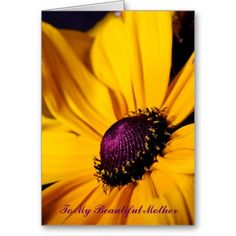 New at #PLdesign! Beautiful yellow flower To My Beautiful Mother for Mother's Day Greeting card with inside message #MothersDayCard #YellowDaisy #FlowerCard