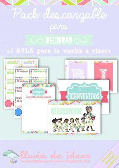 """El pack descargable para """"Decorar la vuelta a clase"""" se presenta en formato PDF y está compuesto de diferentes materiales para dar la bienvenida a niños y niñas con un toque de color. En él encontraréis carteles y posters de..."""