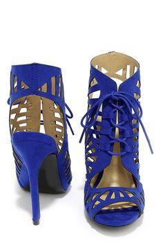 Park View Cobalt Blue Cutout Lace-Up Heels at Lulus.com!