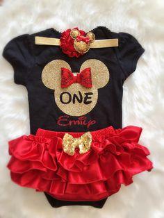 Minnie Birthday- First Birthday outfit/Minnie Mouse – BabyTrendzz Minnie Mouse Birthday Outfit, Mouse Outfit, 1st Birthday Outfits, Mickey Mouse Birthday, Birthday Ideas, Happy Birthday B, Twin First Birthday, Baby Girl Birthday, Gold Birthday