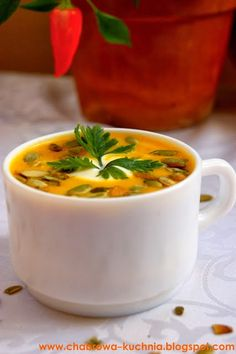 Spicy Cream of Pumpkin Soup Best Soup Recipes, Baby Food Recipes, Vegan Recipes, Food Baby, A Food, Good Food, Food And Drink, Cream Of Pumpkin Soup, Cream Soup
