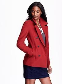 Wool-Blend Peacoat $59.94 @ Old NAVY.. A pop of a red wool Pea coat add's sophistication to ANY outfit.. Whether it's jeans or dressing it up with jewelry and/or a scarf  it looks great with a skirt or dress pants (especially the fitted type) THIS coat (ordered it myself when it was on sale for 50% off one day only) goes with everything and is well made and looks gorgeous.. NOT a bright RED red color..Definitely a classic and a MUST HAVE staple in your closet