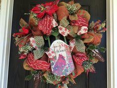 Rustic Christmas wreath, Winter wreath, holiday mesh wreath, front door wreath, cardinal wreath, pinecones  on Etsy, $75.00