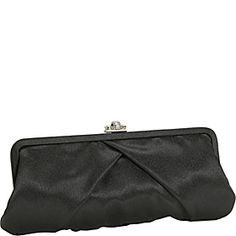 J. Furmani Satin Clutch w/ Rhinestone Clasp - Black - via eBags.com!
