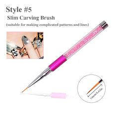 Nail Art Brush Rhinestone Diamond Dotting Pen Acrylic Carving Brush Nail Drawing Pen Manicure Tool (Rose Red) -- Read more reviews of the product by visiting the link on the image.