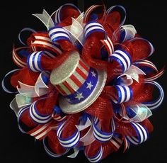 4th of July Kitchen Decor | PATRIOTIC SALE RWB Memorial or Labor Day Wreath, 4th of July Item 766