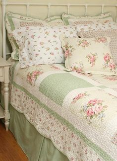 Pink and Green floral bedding
