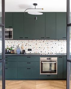 """Terrazzo kitchen backsplash with Mosaic Factory """"WILD"""" terrazzo tiles colour The """"WILD"""" collection is available with white or black background and scattered colourful marble chips in different sizes. Project and regram from Kitchen Interior, Interior Design Living Room, Kitchen Decor, Terrazzo Tile, Cocinas Kitchen, Green Kitchen, Open Plan Kitchen, Küchen Design, Glass House"""