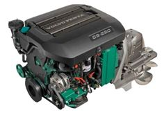 The new Volvo Penta D3-220 diesel sterndrive engine is a 5 cylinder, 2.4 L (146 cu. in) 220-hp common rail fuel injected engine equipped with EVC for bringing engine communications to the helm.