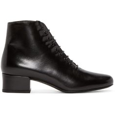 Saint Laurent Black Babies Ankle Boots (2,820 PEN) ❤ liked on Polyvore featuring shoes, boots, ankle booties, black boots, black ankle boots, black leather booties, short black boots and black booties