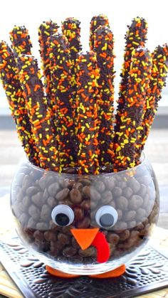 Chocolate Covered Pretzels with bright colored sprinkles make the perfect tail feathers in this fun and easy to create Turkey Jar