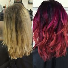 Behind The Chair - berry sunset color melt. I just got this done & it's gorgeous!