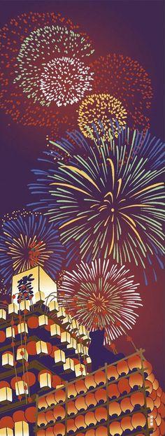 Japanese Tenugui Towel Cotton Fabric, Rocket Firework, Lantern, Summer Festival…