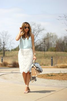 Lilly Style: So pretty! powder blue top with a white lace skirt