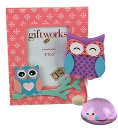 Nina Owl 3 Piece Girls Bedroom Set, Hook Hanger, Photo Frame And Paperweight: Amazon.co.uk: Kitchen & Home