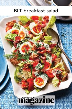 A lovely brunch dish to share, this BLT breakfast salad recipe features crunchy lettuce, crisp bacon and soft boiled eggs. Get the Sainsbury's magazine recipe Breakfast Salad, Breakfast For Dinner, Caprese Salad, Cobb Salad, Brunch Dishes, Tasty Dishes, Side Dishes, How To Make Breakfast, Salad Recipes