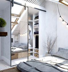 Mała garderoba w aranżacji białej sypialni na poddaszu - Lovingit.pl