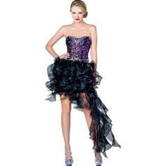 Zeilei Black Strapless Ruffled High Low Prom Pageant Evening Dress in Black | Find.com  #prom #gown