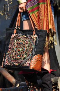 Hobo Ethnic Canvas Embroidered Shoulder Bag Hand Bag BLACK - Bohemian Gorgeous in Clothing, , Womens Handbags & Bags, Backpacks & Bookbags Mk Handbags, Burberry Handbags, Look Fashion, Fashion Bags, Sewing Clothes Women, Bags For Teens, Boho Bags, Bohemian Bag, Moda Boho