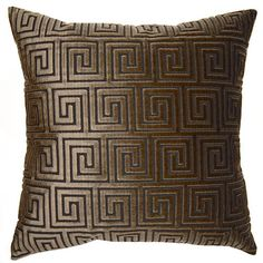 Pillows - Greek Key Maze Pillow - Shanghai Brown