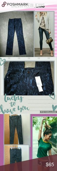"CALVIN KLEIN JEANS SKINNY JEANS.👖 NWT, A ULTIMATE SKINNY JEAN. THERE A DARK BLUE COLOR WITH LIGHTER COLOR BLUE SWIRLES, FROM WAIST DOWN ITS 40"" LONG, THE RISE IS 5.50 "" LONG, AND THE INSEAM IS 32"" LONG. THEY JUST SIT BELOW THE WAIST. THERE SUPER CUTE, BUT I HAVE 2 OF THEM..😁  I AM ALWAYS OPEN TO OFFERS. Calvin Klein Jeans Skinny"