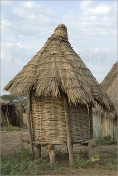 Ethiopia: Lower Omo River Basin - Karo village of Duss - thatched home on stilts for chickens