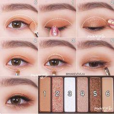 Korean Makeup Look, Korean Makeup Tips, Korean Makeup Tutorials, Asian Eye Makeup, Eye Makeup Steps, Natural Eye Makeup, Natural Beauty, Eyeshadow Tutorials, Asian Beauty