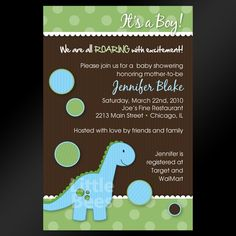 Dinosaur or TRex Printable Baby Shower or by LittleBeesGraphics, $12.99