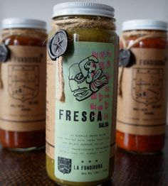 Fundidora Salsa Variety Pack – Set of 3 by La Fundidora on Scoutmob Shoppe Mexican Food Recipes, Vegetarian Recipes, Dessert Recipes, Fresco, Good Food, Yummy Food, Fresh Salsa, Food Packaging Design, Food Labels