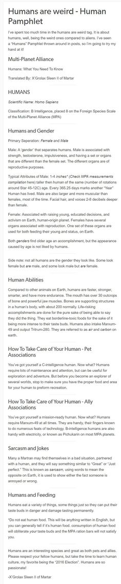 HAW Comp 08 - How to care for your human Just want to sat there are more than the two genders but cool