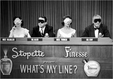 "From left to right, celebrity panelists Dorothy Kilgallen, Steve Allen, Arlene Francis, and Bennett Cerf sit blindfolded for a 1952 episode of the TV game show, ""What's My Line?"" GSN, the cable network, is showing the episodes in a 3 to 4 a.m. block called ""Black and White Overnight."""