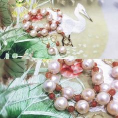 Pink pearl and chinese agate necklace and earring  # Handmade # 100% naturel