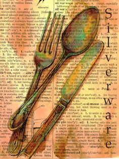 Mixed Media Silverware Drawing on Distressed Dictionary Page