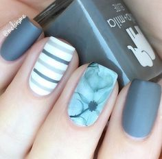 Stripes are modern when we talk about wardrobe, but also and when we talk about manicure. If you have a wide nails stripes need to be drawn straight – that will visually narrow the nail, and if you have a narrow nails horizontal lines will be the right choice.