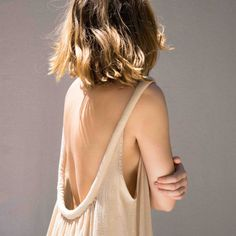 Electric Feathers Low Back Chemise in Ecru at General Store