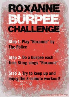 """This """"Roxanne"""" burpee challenge is hilarious. And very challenging! What is your burpee song? #burpee #crossfit"""