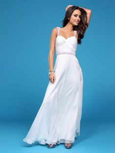 A-line Straps Floor-length Chiffon Best-Selling Prom Dress with Beading at Msdressy
