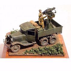 GAZ-AAA with 4M anti-aircraft mount 1/48 scale By: Steve Zaloga From: missing-lynx #udk #usinadoskits #dio #diorama #cena #scene #maquete #hobby #miniatura #miniature #miniart #arte #cenário #kit #modelart #plasticmodel #war #guerra #snow #combate #battle